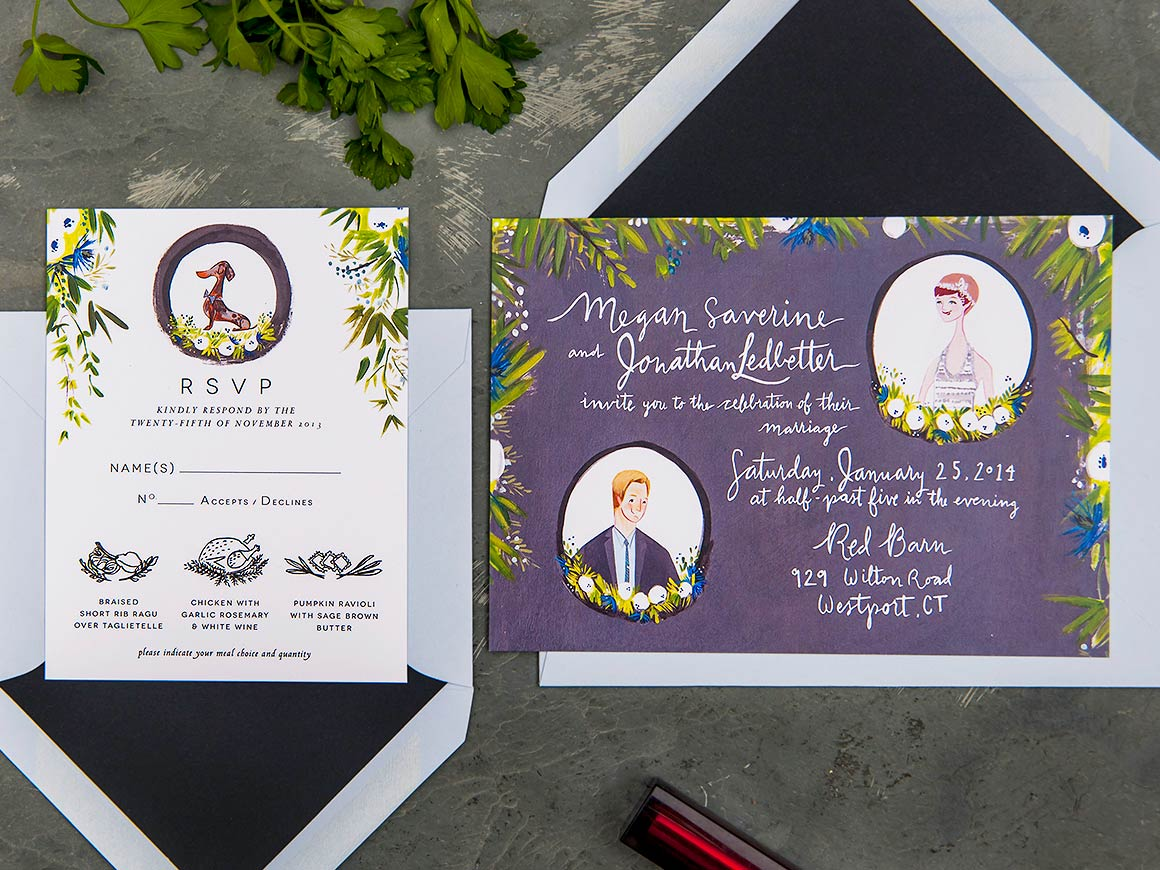 Megan and Jon custom wedding stationery and illustration by Jolly Edition