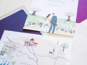 Celia and Alexis' custom wedding stationery by Emma Block of Jolly Edition