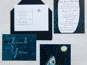 Laura and Matt custom wedding stationery by Elizabeth Graeber of Jolly Edition