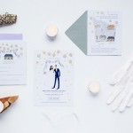 Emily and Michael's custom wedding stationery by Emma Block of Jolly Edition