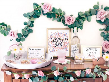 confetti bar for wedding blog. confetti, watercolor, signage and copy. illustrated by elizabeth graeber for jolly edition