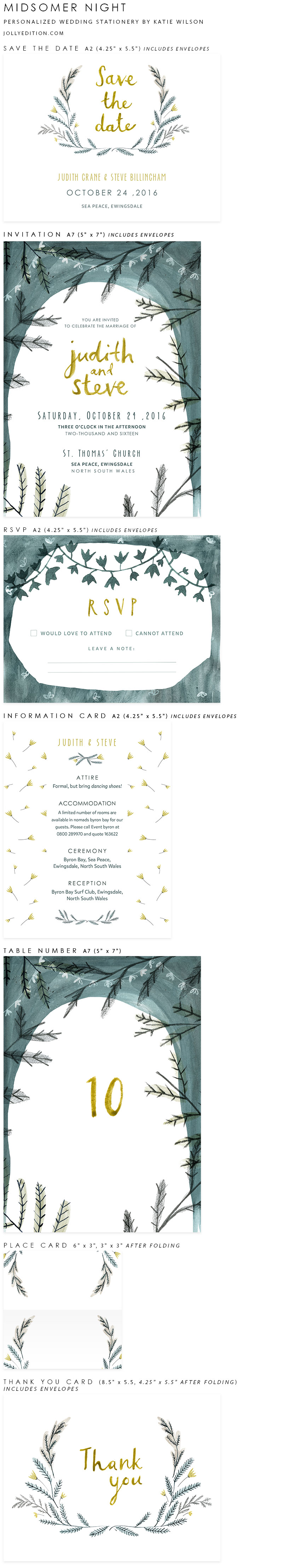 Midsomer Night Personalized Wedding Stationery by Katie Wilson of Jolly Edition
