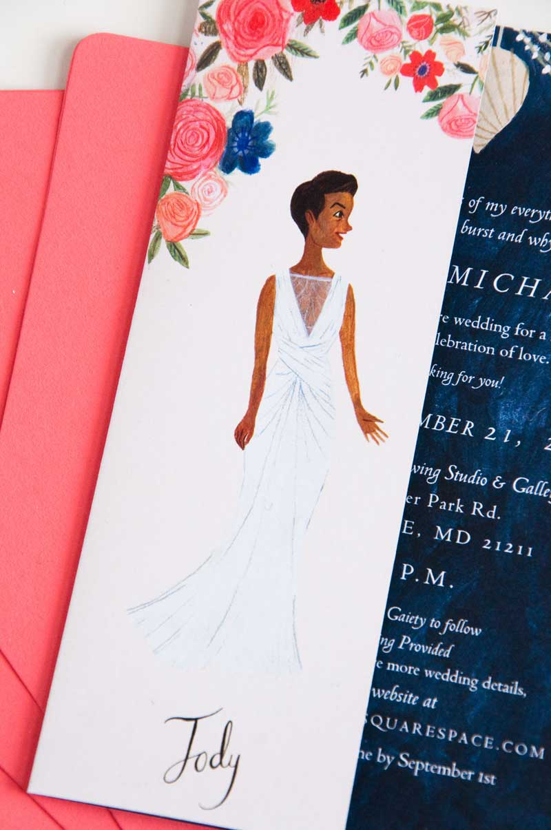 Katie Harnett's illustrated wedding invitation