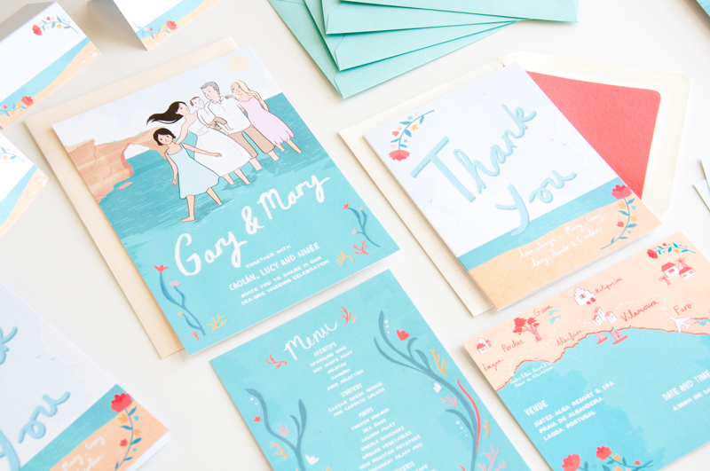 Emmeline Pidgen illustrated wedding stationery