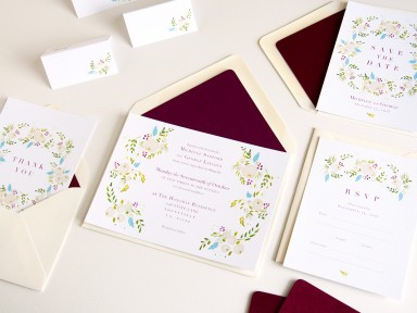 succulent and ivory wedding stationery