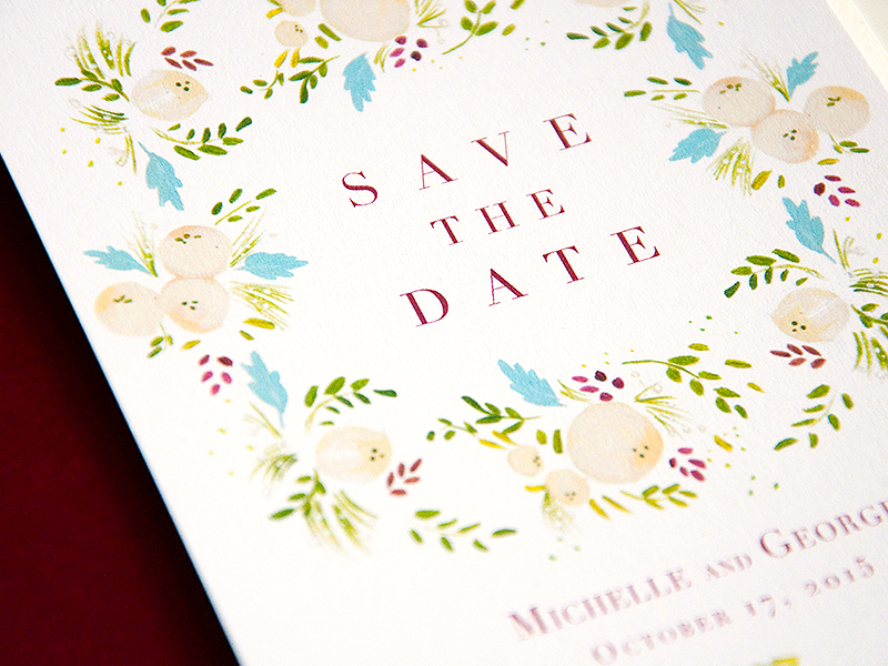 succulent and ivory save the date