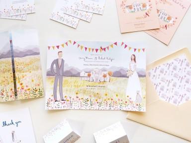 Jolly Edition custom wedding stationery illustrated by Emma Block