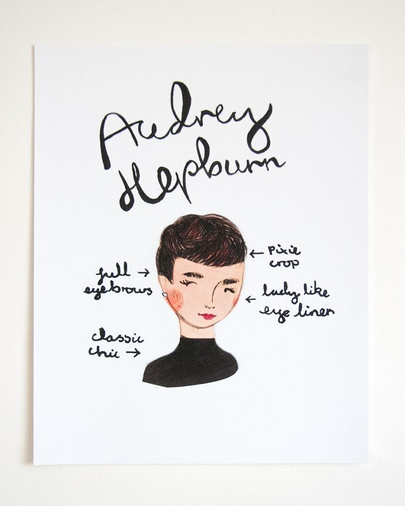 emma block illustrated audrey hepburn print