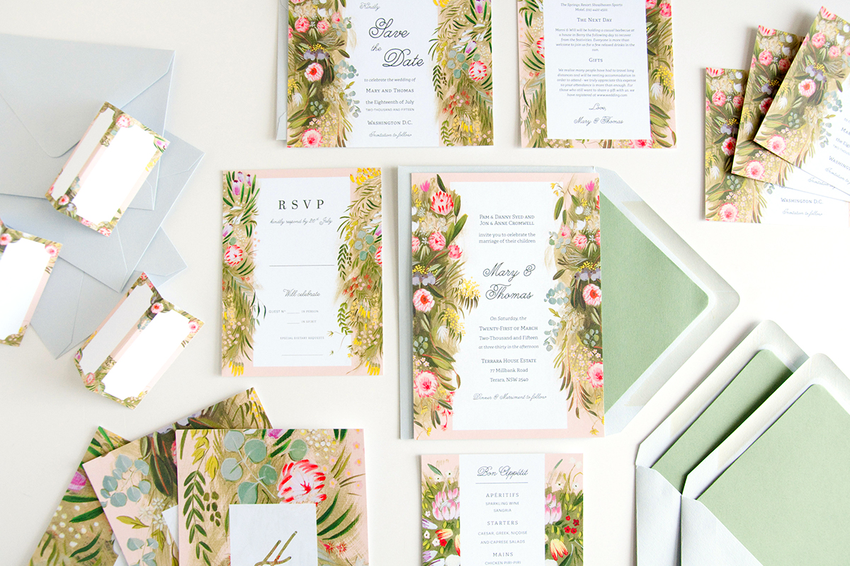 outback protea flower wedding stationery