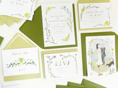 katie wilson illustrated custom wedding stationery