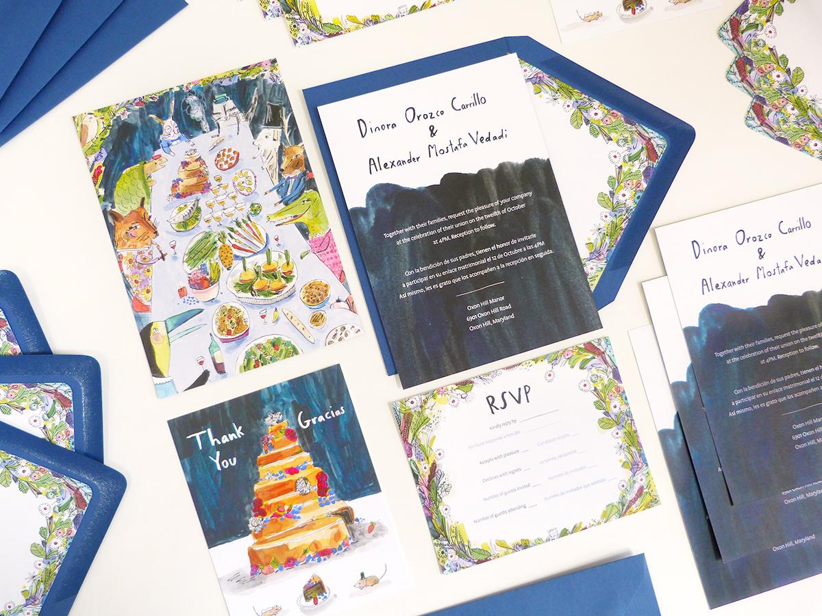 elizabeth graeber illustrated custom wedding stationery