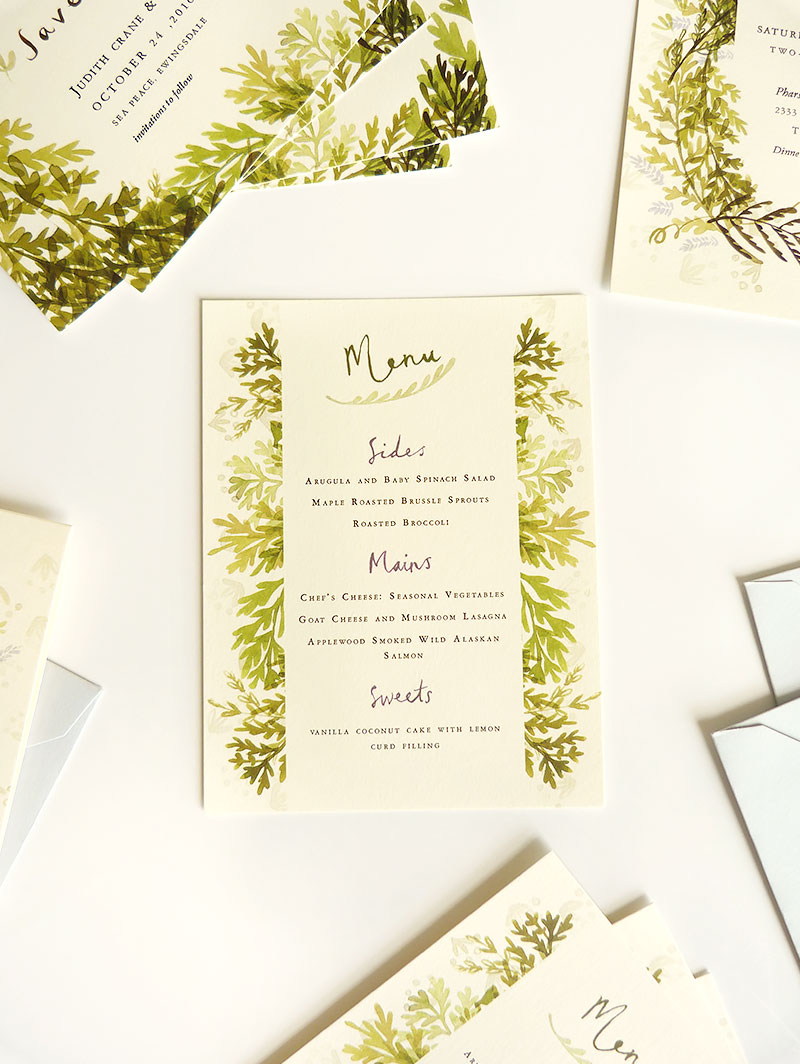 Katie Wilson illustrated wedding stationery