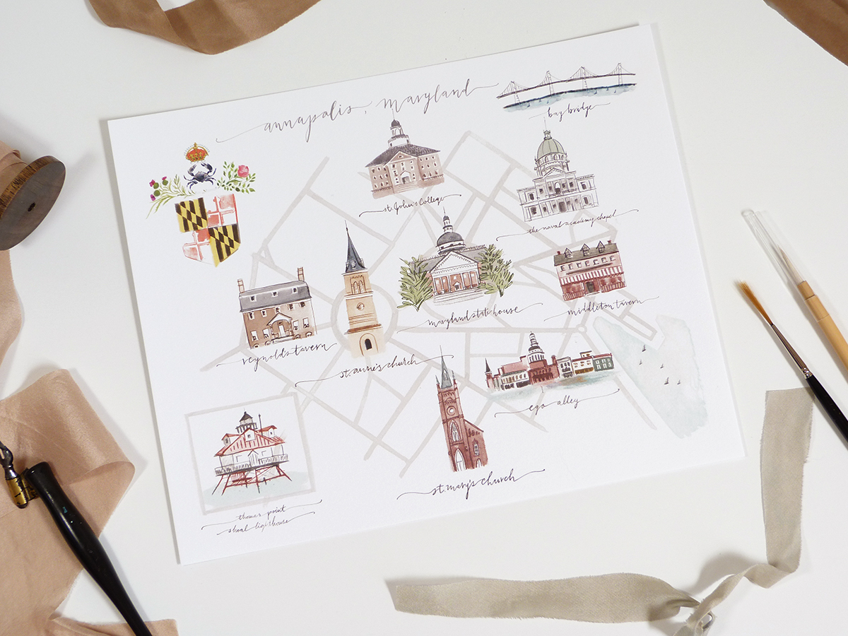 Annapolis Map | Jolly Edition | Illustration and Stationery Made in ...