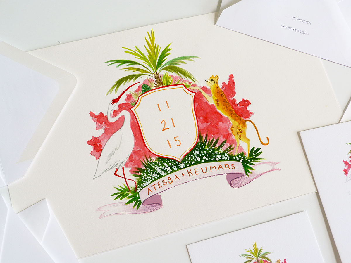 jolly edition Save the Date monogram illustrated by Laura Shema