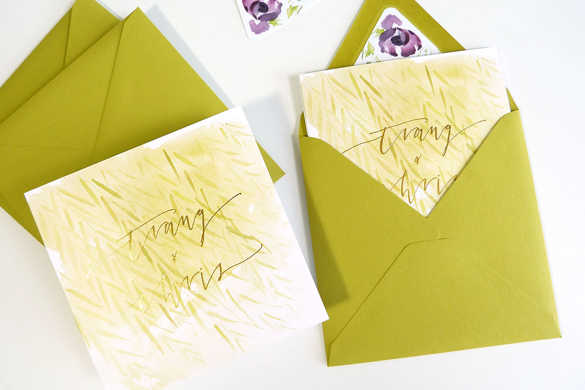 jolly edition custom illustrated gold foil wedding fold out invitation