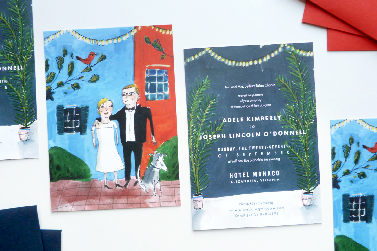 Adele & Joe's custom wedding Invitation and RSVP by Jolly Edition and Elizabeth Graeber