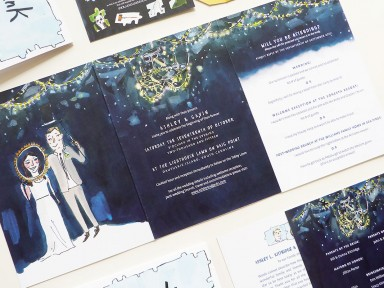 Jolly Edition custom wedding custom save the date and wedding map illustrated by clair rossiter