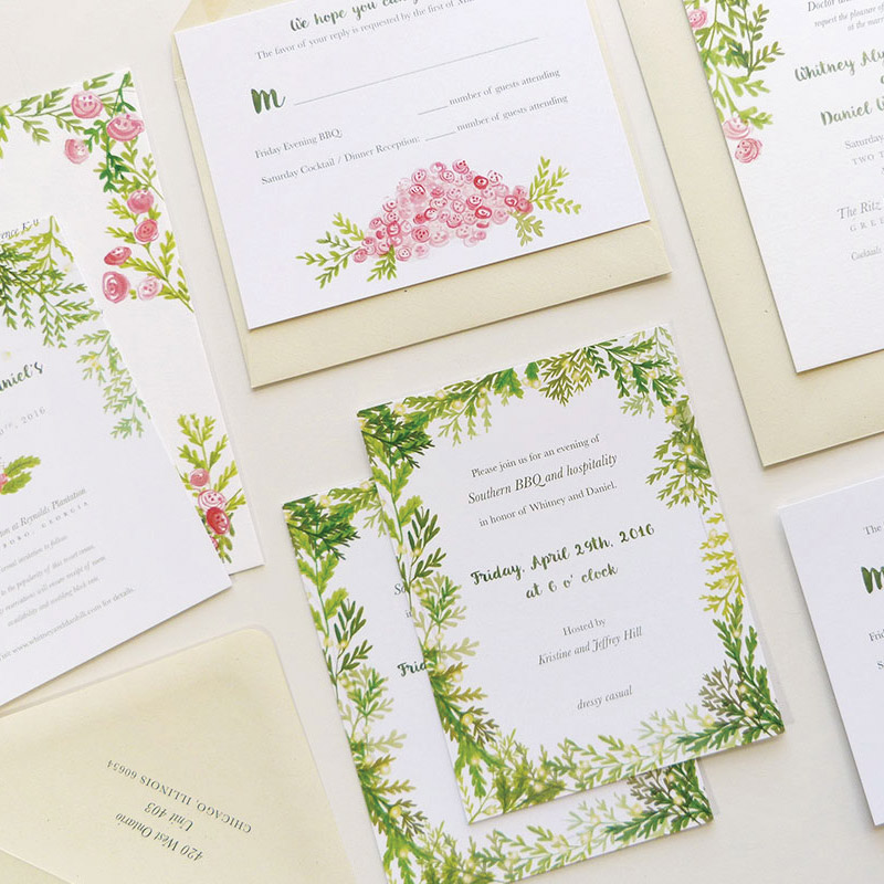 Whitney and Dan's custom wedding stationery design by Jolly Edition