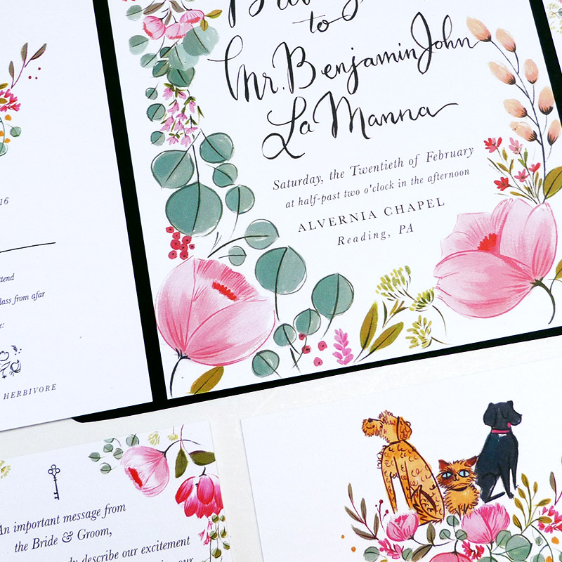 Britany and Benjamin's custom wedding stationery design by Jolly Edition
