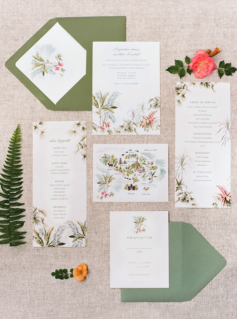 Jolly Edition Bali wedding stationery illustrated by Laura Shema  photographed by Audra Wrisley