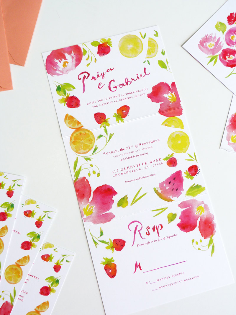 summer wedding stationery by jolly edition - hot air balloon, lemon, strawberries, watermelon