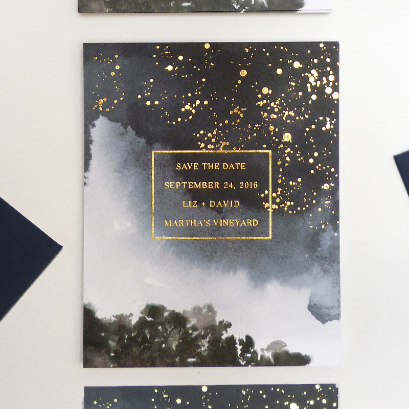 Celestial gold foil save the date by Laura Shema for Jolly Edition