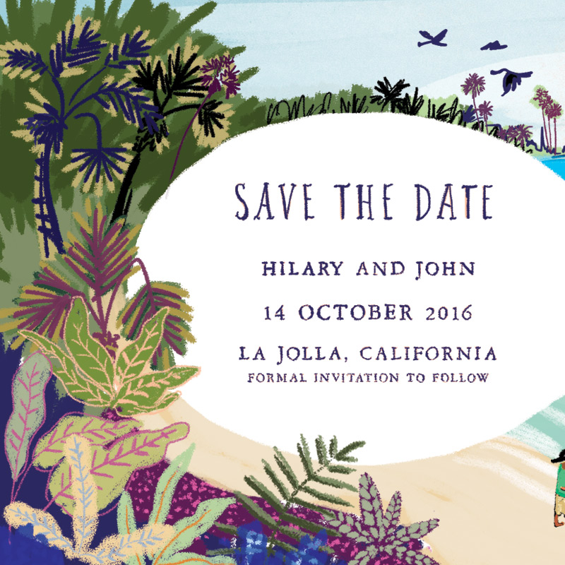 In progress La Jolla Save the Date by Laura Shema for Jolly Edition
