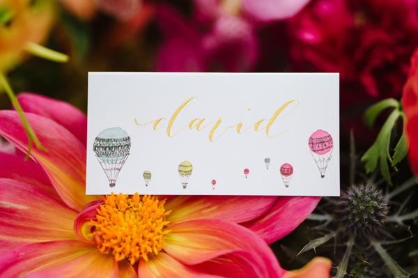 Jolly Edition place card - Ruffled - photo by Natalie Franke http://ruffledblog.com/vintage-hot-air-balloon-wedding