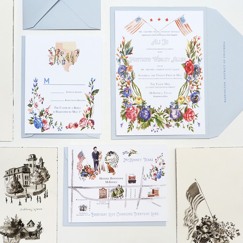 Colonial americana inspired kansas texas wedding stationery illustrated by Laura Shema for Jolly Edition