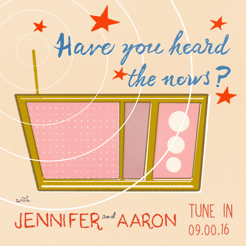 Web icon vintage radio / retro movie poster Save the Date inspired illustrated by Laura Shema for Jolly Edition