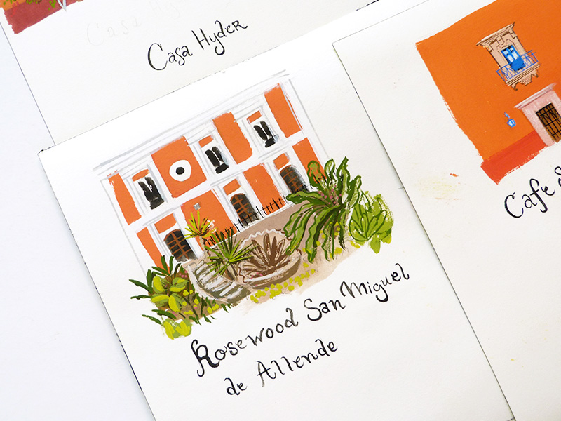San Miguel wedding map illustrated by Laura Shema for Jolly Edition