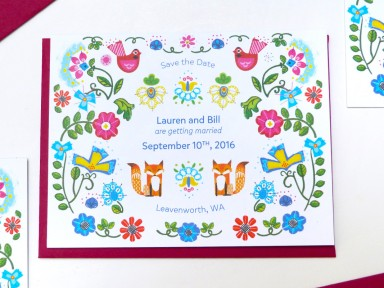 swedish inspired save the date illustrated by Laura Shema for Jolly Edition