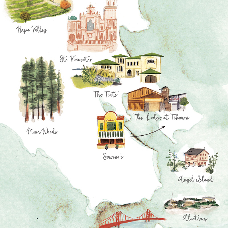 Bay area map for wedding stationery illustrated by Laura Shema for Jolly Edition