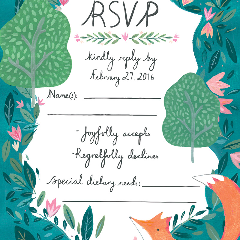 Sweet garden fox rsvp for georgian wedding stationery illustrated by Mia Dunton for Jolly Edition