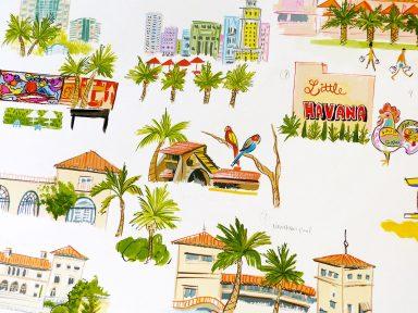 Miami Map illustrated by Laura Shema for Jolly Edition. Wynwood, Art Deco District, Little Havana, PAMM, Jungle island, vizcaya, villa woodbine, coco walk