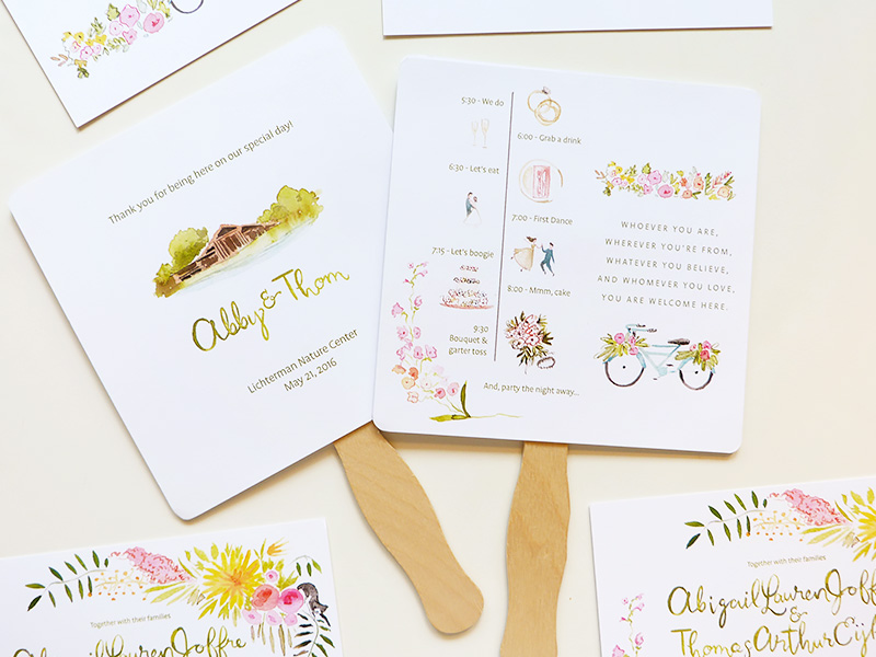 The Lichterman Center, Tennessee custom wedding invitations and program fan with illustrated timeline. illustrated by Laura Shema for Jolly Edition.