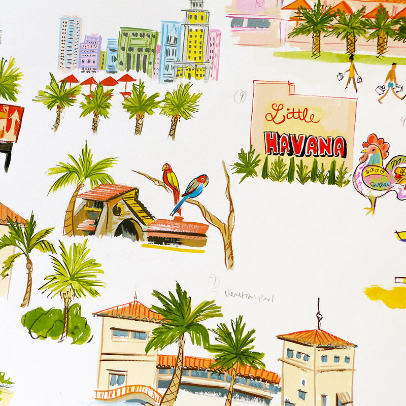 Miami map illustrated by Laura Shema for Jolly Edition - parrot jungle, art deco district, coco walk, little havana