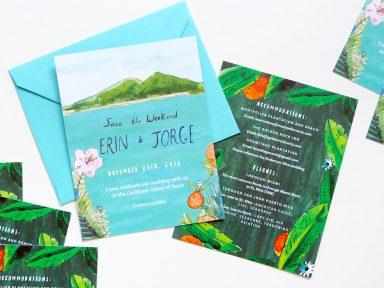 Tropical island wedding invitation illustrated by Elizabeth Graeber for Jolly Edition.