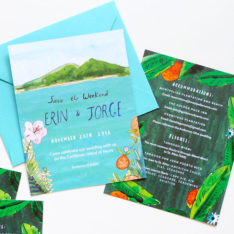 May 2016 Blog Post. Tropical island wedding invitation illustrated by Elizabeth Graeber for Jolly Edition.