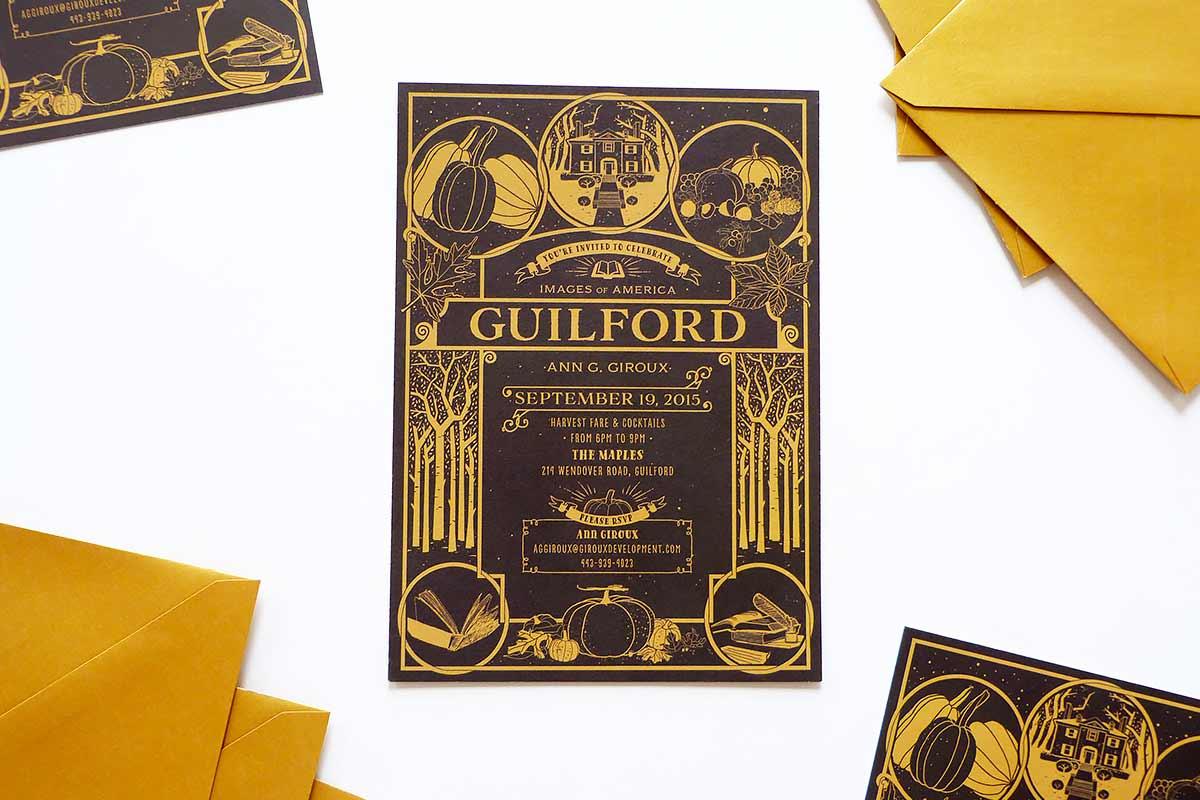 Jolly Edition Guilford book launch invitation. small business.  illustrated by Stephanie Shafer