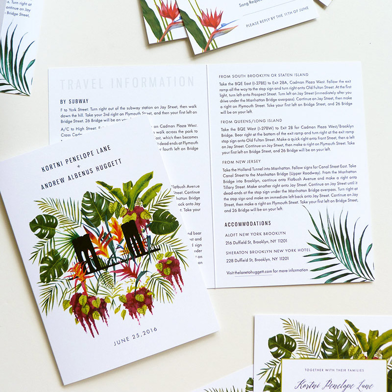 May 2016 Blog Post - new york tropical invitations illustrated by Laura Shema for @Jolly Edition