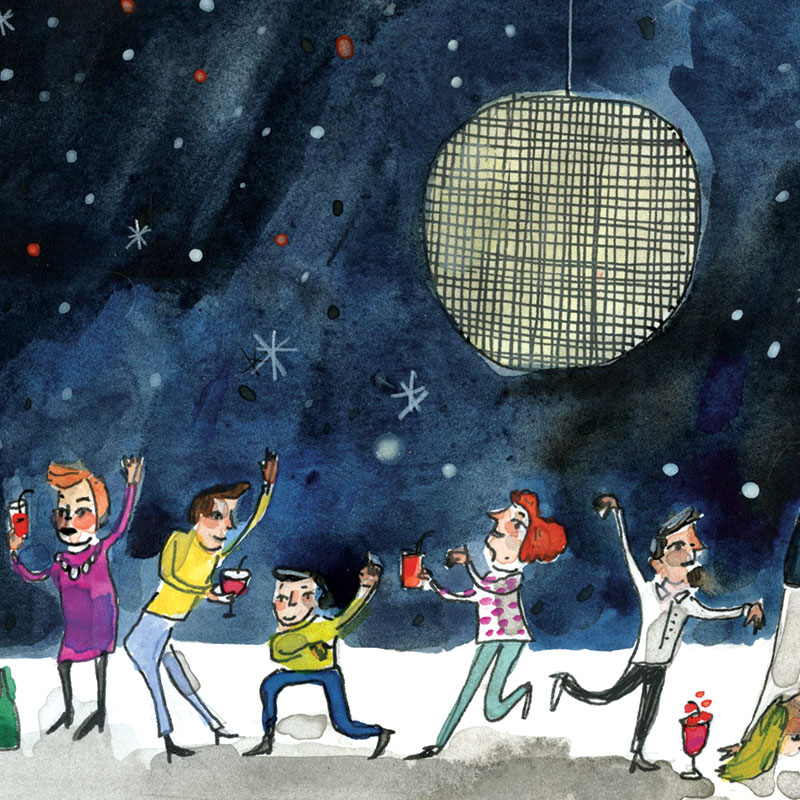 May 2016 Blog Post. Custom birthday invitation illustrated by Elizabeth Graeber for Jolly Edition. Disco dance party!