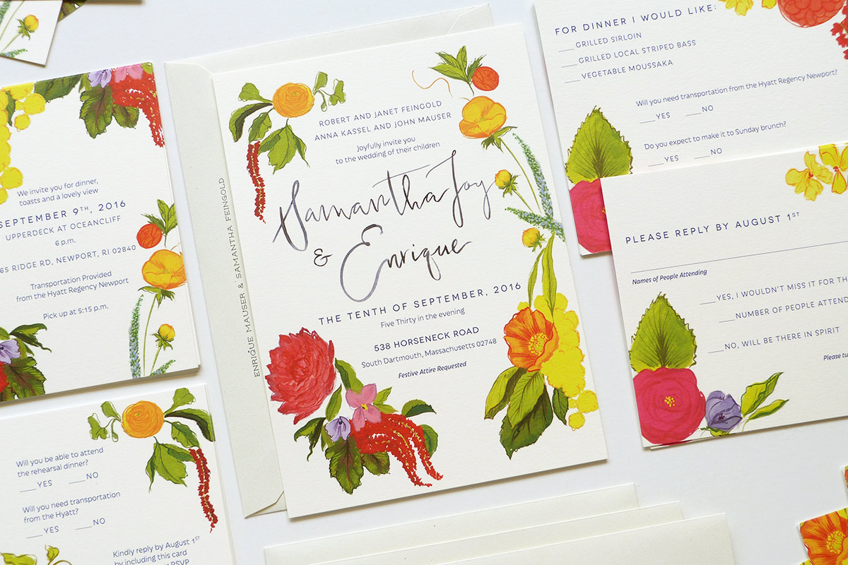 garden inspired custom wedding invitation illustrated by Laura Shema for Jolly Edition.