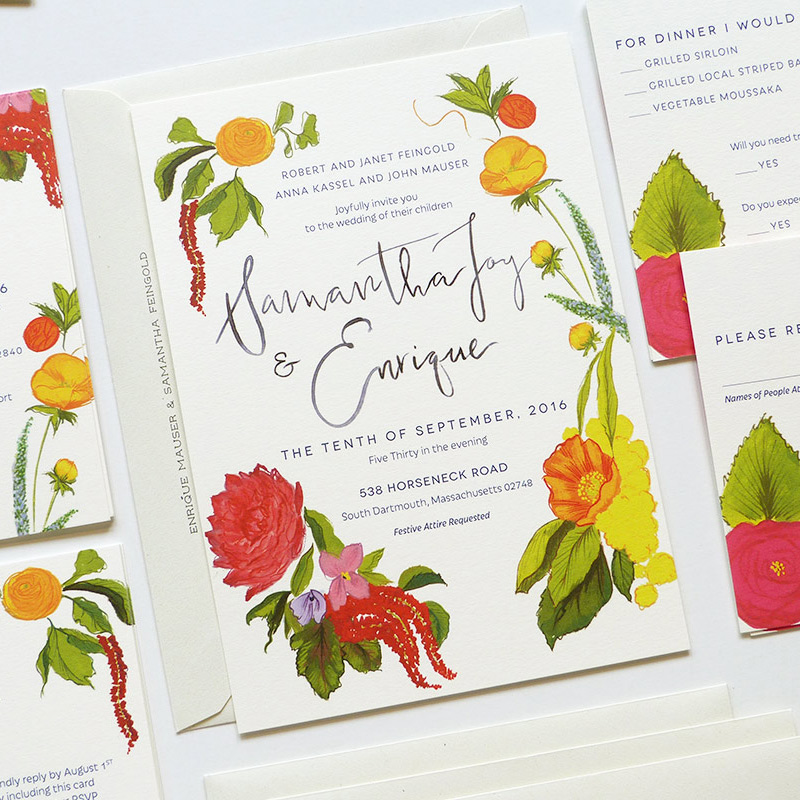 May 2016 Blog Post. garden inspired custom wedding invitation illustrated by Laura Shema for Jolly Edition.