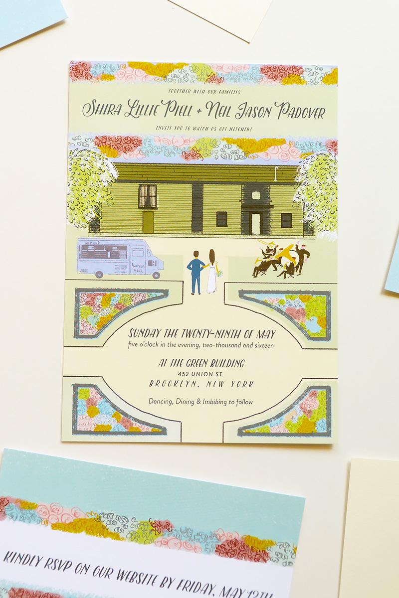 The Green Building, Brooklyn custom wedding invitation. illustrated by Laura Shema for Jolly Edition.