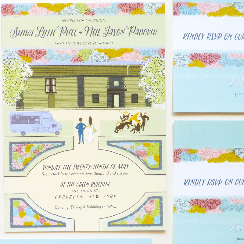 May 2016 Blog Post. The Green Building, Brooklyn custom wedding invitation. illustrated by Laura Shema for Jolly Edition.