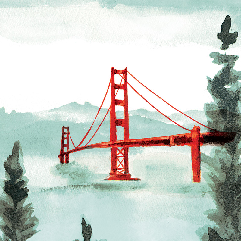 June 2016 Blog Posts. Golden Gate Bridge for tri-fold wedding invitation.  illustrated by Laura Shema for Jolly Edition