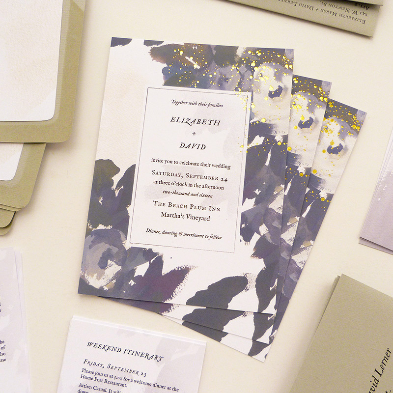 Oyster floral, watercolor, gold foil printing invitation. illustrated by Laura Shema for Jolly Edition