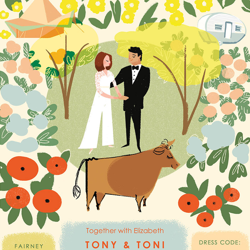 Jolly Edition July 2016 New Zealand wedding stationery Illustration by Laura Shema for Jolly Edition.