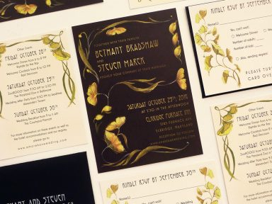 deco ginko leaved, gold, black and ivory invitation. illustrated by Laura Shema for Jolly Edition